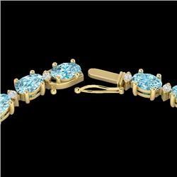 34 CTW Sky Blue Topaz & VS/SI Diamond Tennis Necklace 10K Yellow Gold - REF-149Y8K - 21588
