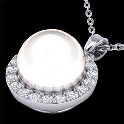 0.25 CTW Micro Halo VS/SI Diamond & White Pearl Necklace 18K White Gold - REF-40W9F - 21578