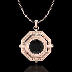 0.75 CTW Fancy Black Diamond Solitaire Art Deco Stud Necklace 18K Rose Gold - REF-80N2Y - 37458