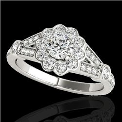 1.65 CTW H-SI/I Certified Diamond Solitaire Halo Ring 10K White Gold - REF-180Y2K - 34034
