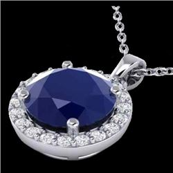 2 CTW Sapphire & Halo VS/SI Diamond Micro Pave Necklace 18K White Gold - REF-44N2Y - 21575