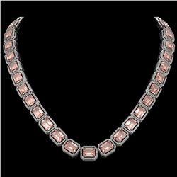 81.64 CTW Morganite & Diamond Halo Necklace 10K White Gold - REF-1728X2T - 41486