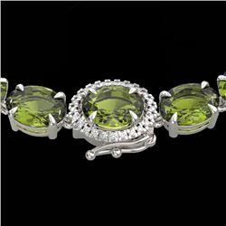 66 CTW Green Tourmaline & VS/SI Diamond Tennis Micro Halo Necklace 14K White Gold - REF-531N6Y - 234
