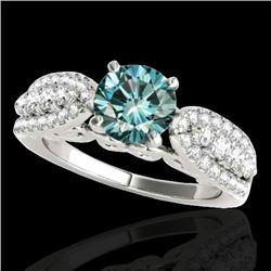 1.7 CTW Si Certified Fancy Blue Diamond Solitaire Ring 10K White Gold - REF-180K2W - 35264