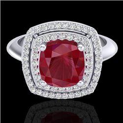 2.52 CTW Ruby & Micro VS/SI Diamond Pave Halo Ring 18K White Gold - REF-77W3F - 20766