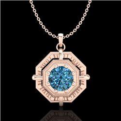 0.75 CTW Fancy Intense Blue Diamond Solitaire Art Deco Necklace 18K Rose Gold - REF-121X8T - 37461