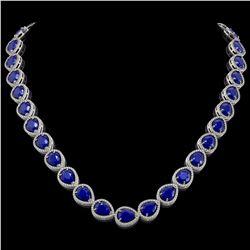 64.01 CTW Sapphire & Diamond Halo Necklace 10K White Gold - REF-733Y5K - 41192