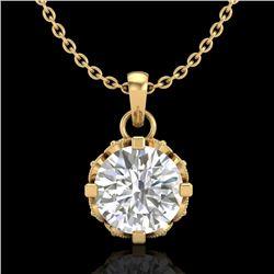 0.85 CTW VS/SI Diamond Art Deco Stud Necklace 18K Yellow Gold - REF-138M4H - 36841