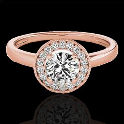 1.15 CTW H-SI/I Certified Diamond Solitaire Halo Ring 10K Rose Gold - REF-152K8W - 33464