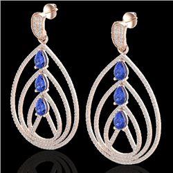 4 CTW Tanzanite & Micro Pave VS/SI Diamond Designer Earrings 14K Rose Gold - REF-307X3T - 22462