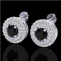 1.40 CTW Micro VS/SI Diamond Designer Earrings 18K White Gold - REF-84W9F - 20191