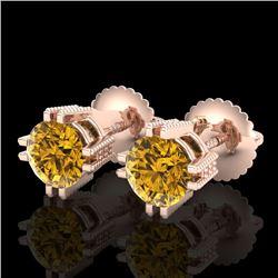 1.07 CTW Intense Fancy Yellow Diamond Art Deco Stud Earrings 18K Rose Gold - REF-172H8A - 37540
