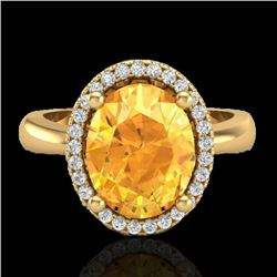 2.50 CTW Citrine And Micro Pave VS/SI Diamond Ring Halo 18K Yellow Gold - REF-50W2F - 21102