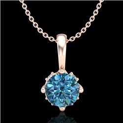 0.62 CTW Fancy Intense Blue Diamond Solitaire Art Deco Necklace 18K Rose Gold - REF-67K3W - 37797