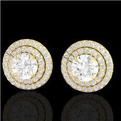 2 CTW Micro Pave VS/SI Diamond Stud Earrings Double Halo 18K Yellow Gold - REF-242K4W - 21471