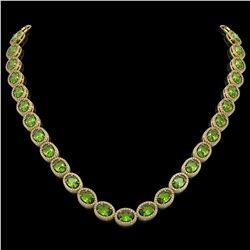 48.14 CTW Peridot & Diamond Halo Necklace 10K Yellow Gold - REF-756M5H - 40582