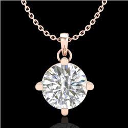 1 CTW VS/SI Diamond Solitaire Art Deco Stud Necklace 18K Rose Gold - REF-345F5N - 37233