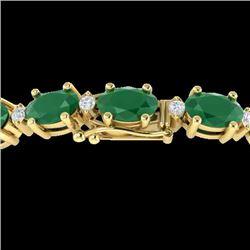 15 CTW Emerald & VS/SI Diamond Eternity Bracelet 10K Yellow Gold - REF-122H8A - 21449