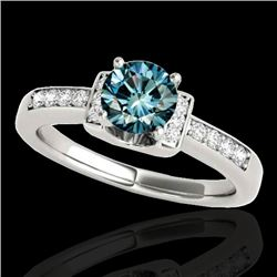 1.11 CTW Si Certified Fancy Blue Diamond Solitaire Ring 10K White Gold - REF-156K4W - 34833