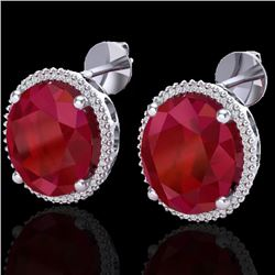 25 CTW Ruby & Micro Pave VS/SI Diamond Halo Earrings 18K White Gold - REF-254Y5K - 20275
