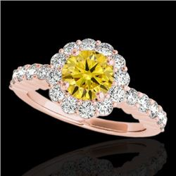 1.75 CTW Certified Si/I Fancy Intense Yellow Diamond Solitaire Halo Ring 10K Rose Gold - REF-180N2Y