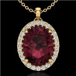 2.75 CTW Garnet & Micro VS/SI Diamond Halo Solitaire Necklace 18K Yellow Gold - REF-48F4N - 20591
