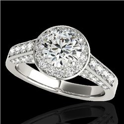 1.8 CTW H-SI/I Certified Diamond Solitaire Halo Ring 10K White Gold - REF-178Y2K - 34042