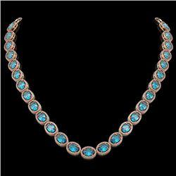 55.41 CTW Swiss Topaz & Diamond Halo Necklace 10K Rose Gold - REF-681W8F - 40587