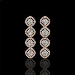 5.28 CTW Cushion Cut Diamond Designer Earrings 18K Rose Gold - REF-981W6F - 42810