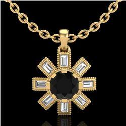 1.33 CTW Fancy Black Diamond Solitaire Art Deco Stud Necklace 18K Yellow Gold - REF-136H4A - 37872