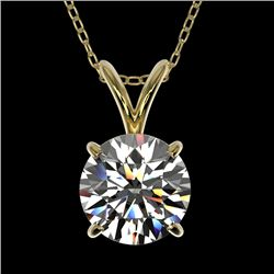 1.30 CTW Certified H-SI/I Quality Diamond Solitaire Necklace 10K Yellow Gold - REF-240A2X - 36784