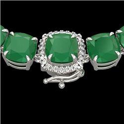 116 CTW Emerald & VS/SI Diamond Halo Micro Pave Necklace 14K White Gold - REF-467T3M - 23342