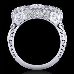 2.51 CTW VS/SI Diamond Solitaire Art Deco 3 Stone Ring 18K White Gold - REF-360Y2K - 36989