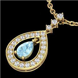 1.15 CTW Aquamarine & Micro Pave VS/SI Diamond Necklace Designer 14K Yellow Gold - REF-61N3Y - 23162