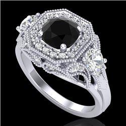 2.11 CTW Fancy Black Diamond Solitaire Art Deco 3 Stone Ring 18K White Gold - REF-180F2N - 38297