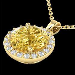 2 CTW Citrine & Halo VS/SI Diamond Micro Pave Necklace Solitaire 18K Yellow Gold - REF-41T3M - 21559