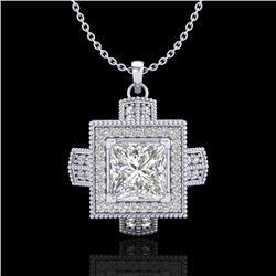 1.46 CTW Princess VS/SI Diamond Solitaire Micro Pave Necklace 18K White Gold - REF-418W2F - 37193