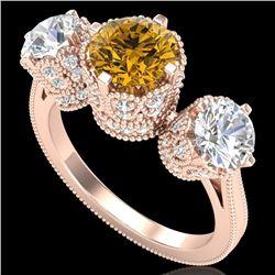 3.06 CTW Intense Fancy Yellow Diamond Art Deco 3 Stone Ring 18K Rose Gold - REF-390T9M - 37393