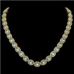 41.88 CTW Aquamarine & Diamond Halo Necklace 10K Yellow Gold - REF-722F4N - 40579