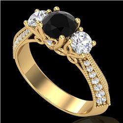 1.81 CTW Fancy Black Diamond Solitaire Art Deco 3 Stone Ring 18K Yellow Gold - REF-180F2N - 38026