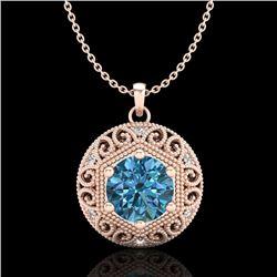 1.11 CTW Fancy Intense Blue Diamond Solitaire Art Deco Necklace 18K Rose Gold - REF-161X8T - 37566