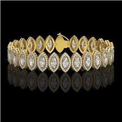 17.55 CTW Marquise Diamond Designer Bracelet 18K Yellow Gold - REF-3196H4A - 42781