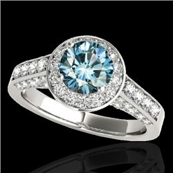 1.8 CTW Si Certified Fancy Blue Diamond Solitaire Halo Ring 10K White Gold - REF-178M2H - 34047