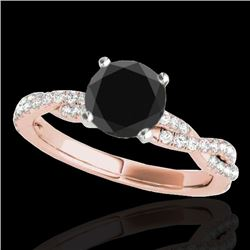 1.25 CTW Certified VS Black Diamond Solitaire Ring 10K Rose Gold - REF-54H9A - 35236