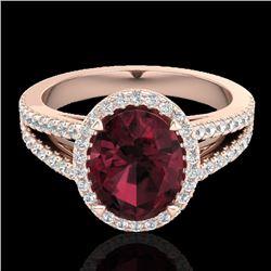 3 CTW Garnet & Micro VS/SI Diamond Halo Solitaire Ring 14K Rose Gold - REF-57K6W - 20940