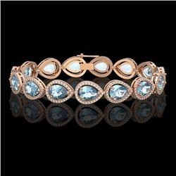 19.85 CTW Aquamarine & Diamond Halo Bracelet 10K Rose Gold - REF-423M3H - 41259
