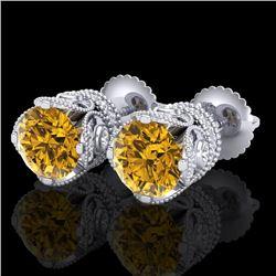 3 CTW Intense Fancy Yellow Diamond Art Deco Stud Earrings 18K White Gold - REF-349N3Y - 37420