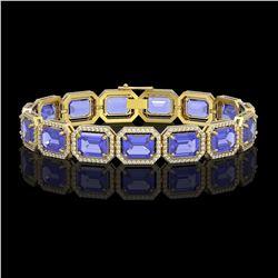 36.37 CTW Tanzanite & Diamond Halo Bracelet 10K Yellow Gold - REF-776N4Y - 41533