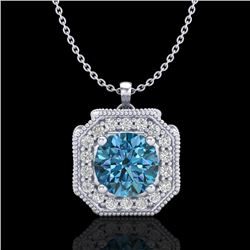 1.54 CTW Fancy Intense Blue Diamond Solitaire Art Deco Necklace 18K White Gold - REF-216Y4K - 38293