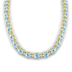 37.5 CTW Aquamarine & VS/SI Certified Diamond Eternity Necklace 10K Yellow Gold - REF-425F5N - 29418
